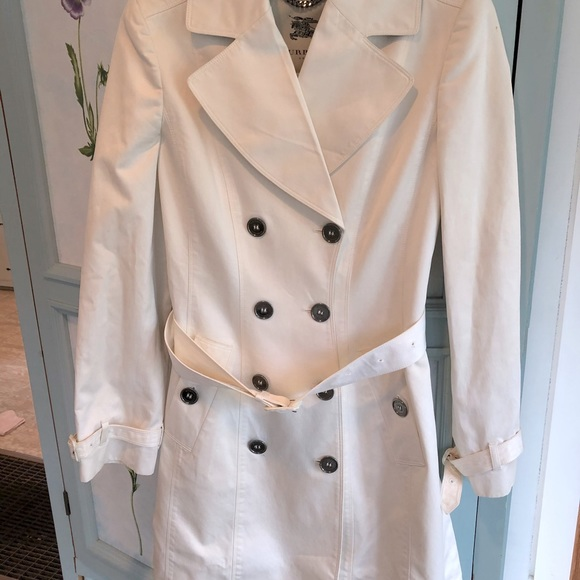 Burberry London White Trench Coat, size 6
